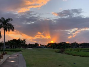 Sunset over the course